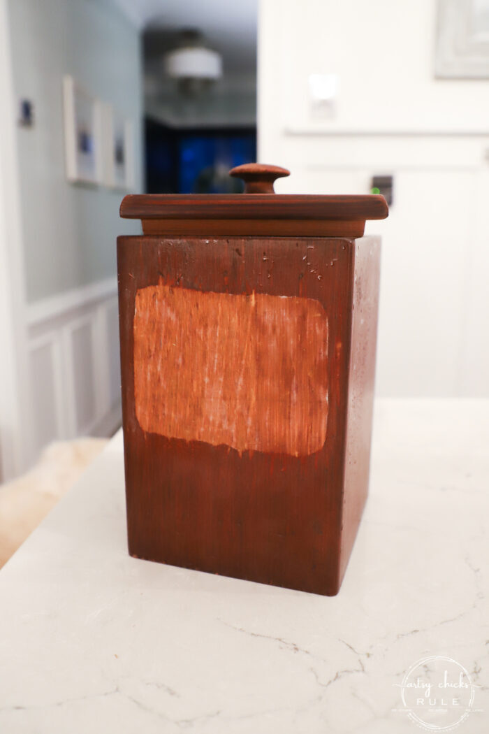 wood cookie box with cookie label removed