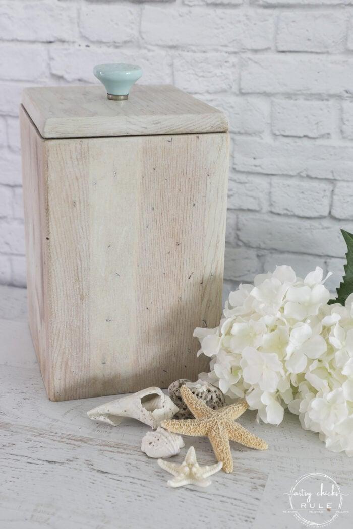 bleached wood box with seashells
