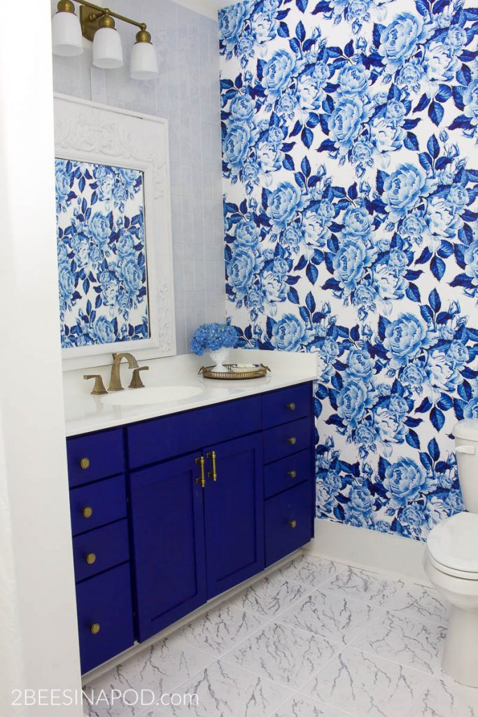 blue flowers with white background, blue cabinet