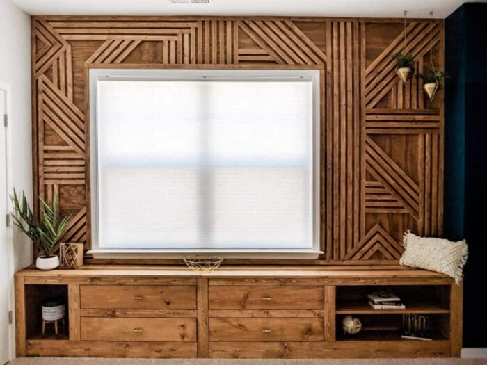 abstract wood pattern in natural not painted stain. with window and built in cabinet