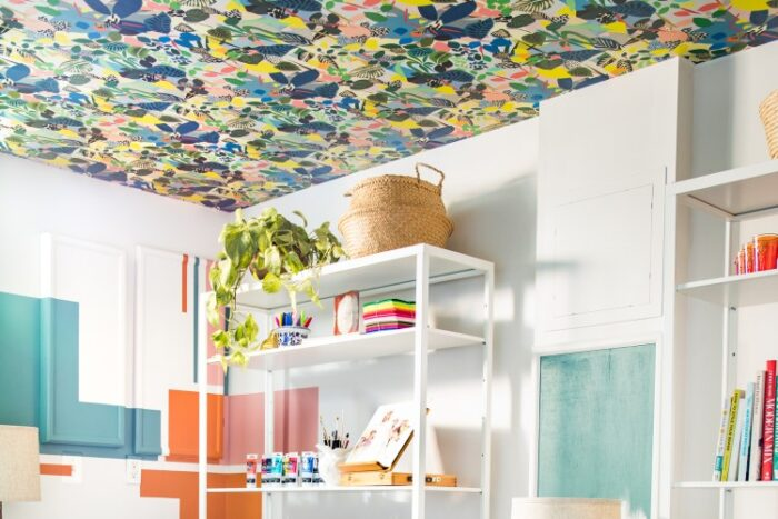 very colorful and bold wallpaper on ceiling