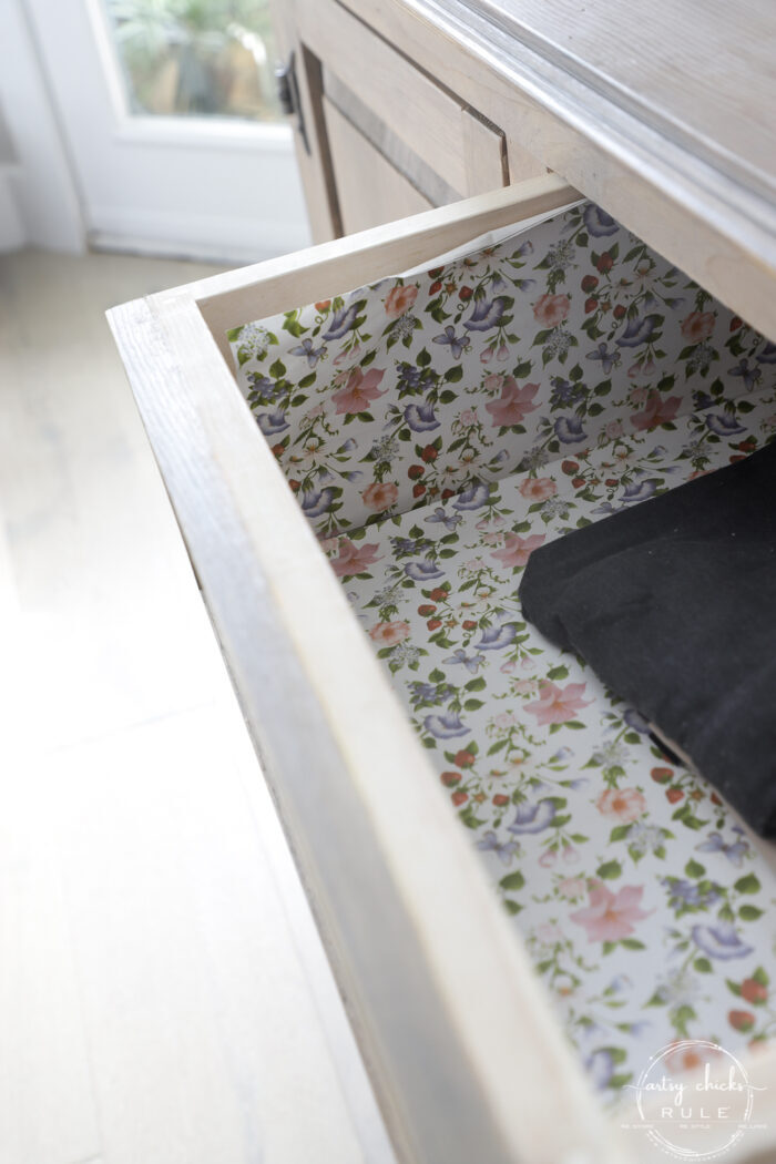 inside drawer with peeling paper