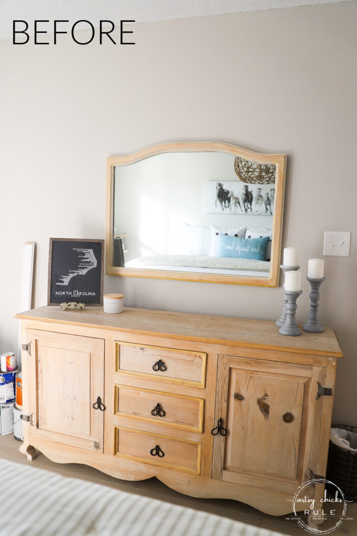 plain wood dresser and mirror before