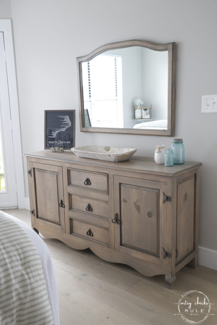 finished driftwood stain dresser project photo