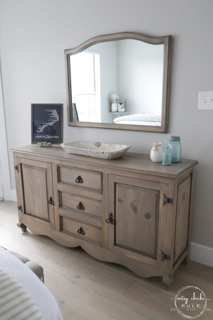 finished driftwood stained dresser and mirror