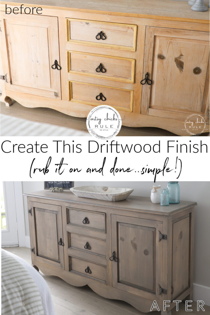 Create this driftwood stain dresser look simply (and quickly!) with ONE product...one and done! artsychicksrule.com