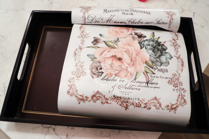 brown tray with transfer paper inside