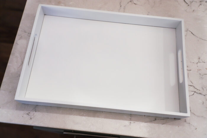 Tray spray painted white