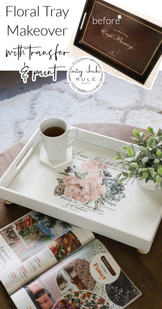 A floral tray makeover, this old thrift store tray got a new look with paint, a floral transfer, and knobs for feet! artsychicksrule.com