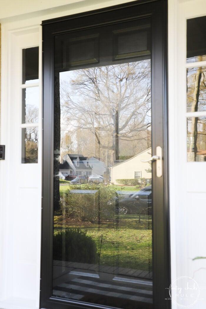 exterior black storm door