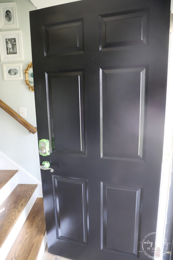 Painted black door finished