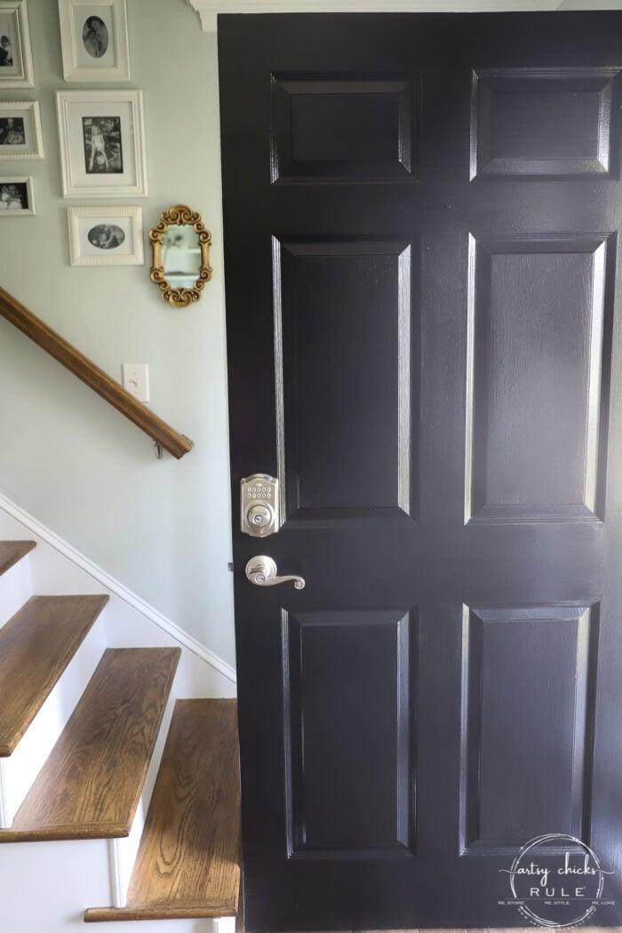 painted black front door
