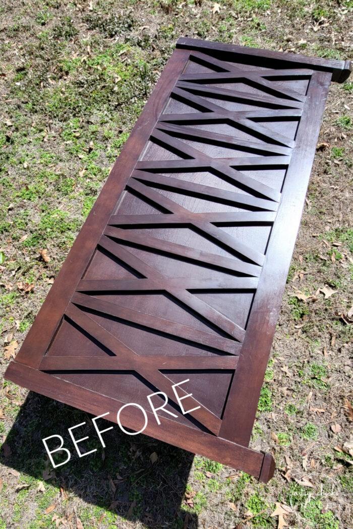 dark brown stained headboard before