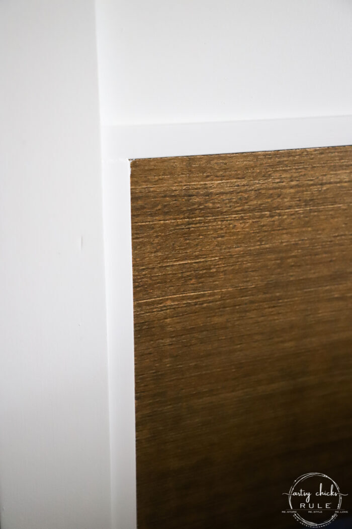 up close of wood and white painted trim