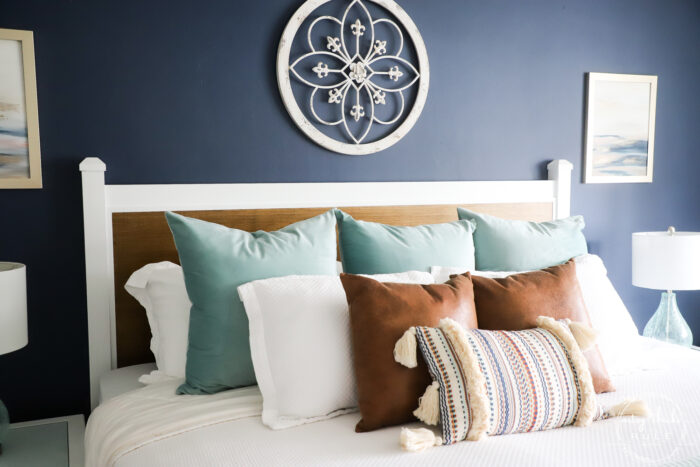 finished headboard on wall with pillows