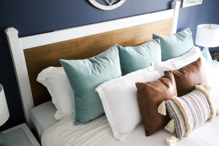 overhead view of pillows, bed and new headboard