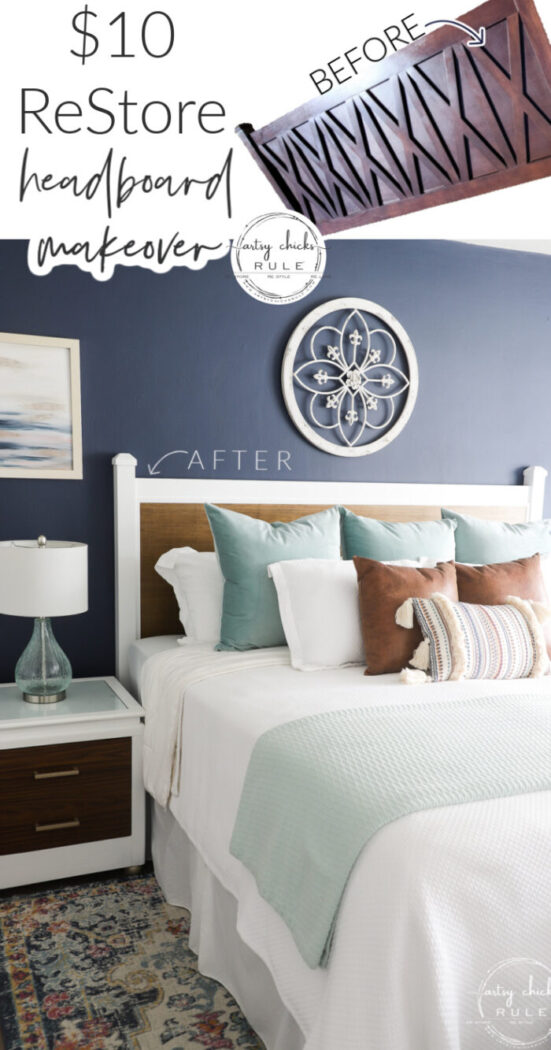 Plywood and paint...totally transform this $10 ReStore find! This headboard makeover was simple to do too! artsychicksrule.com