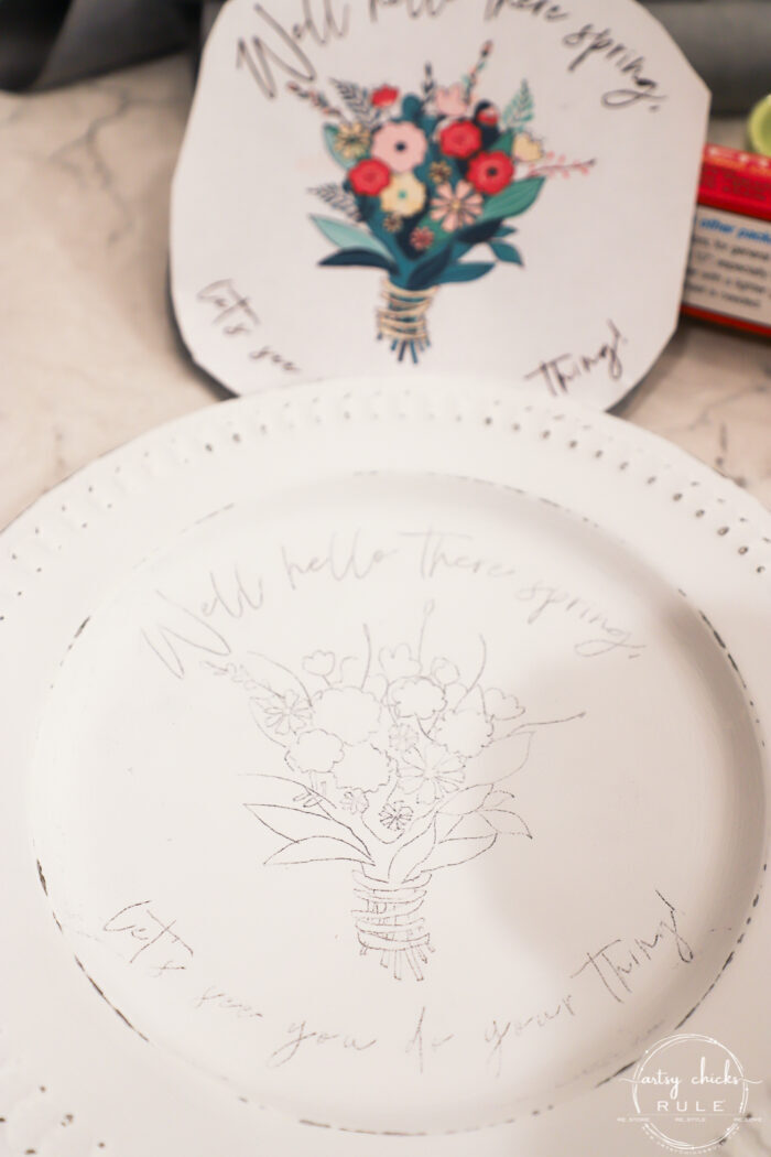 printed printable with transferred image on plate