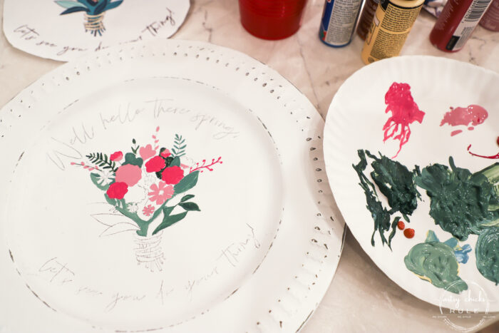 painting in the green leaves on white plate
