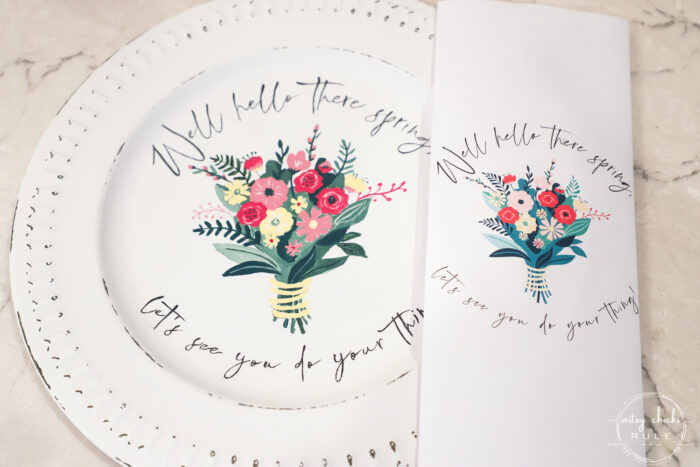 finished spring bouquet painted onto white platter with printed to the side for comparison