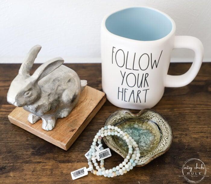 blue and white mug, silver and wood bunny, aqua and white bracelets and heart shaped dish