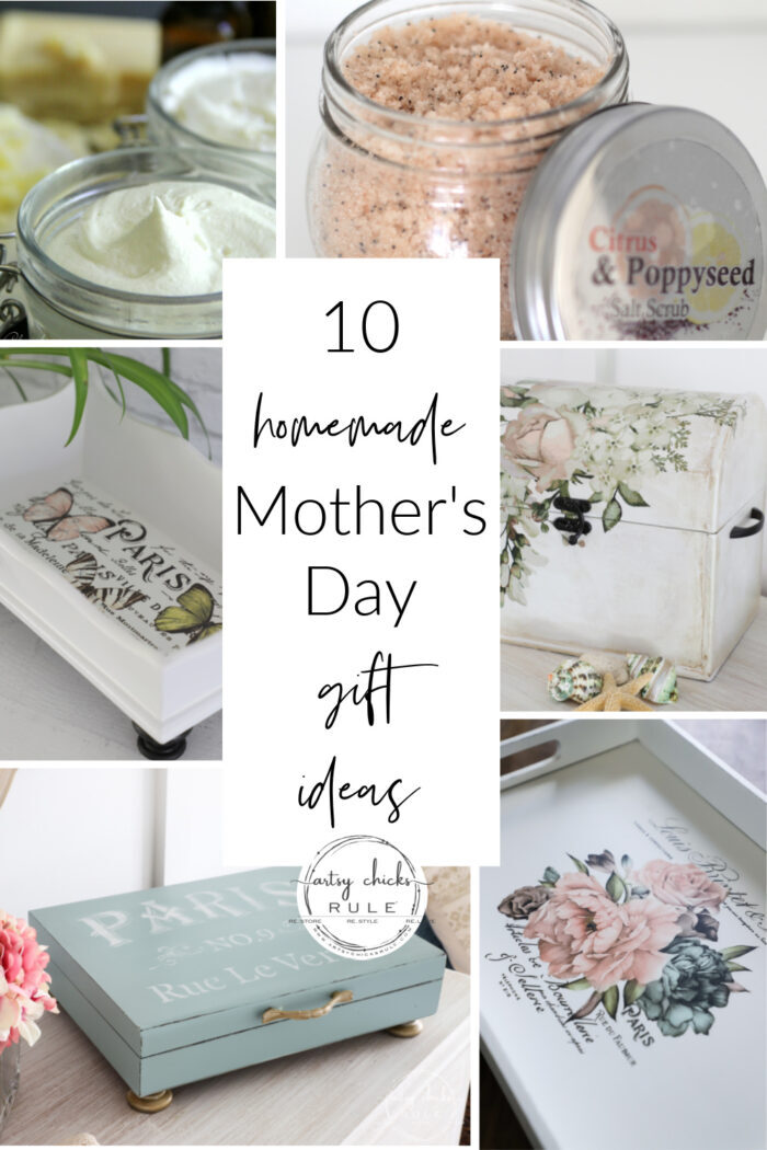 Need some ideas for a homemade Mother's Day gift?? I've got 10 for you! Super easy, amazing handmade gifts for that special mom in your life. artsychicksrule.com