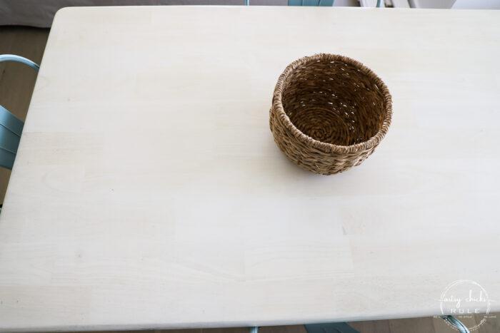 basket on tabletop top view