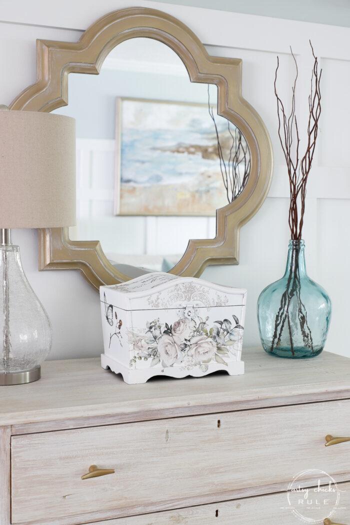 gold mirror, on dresser with white keepsake box