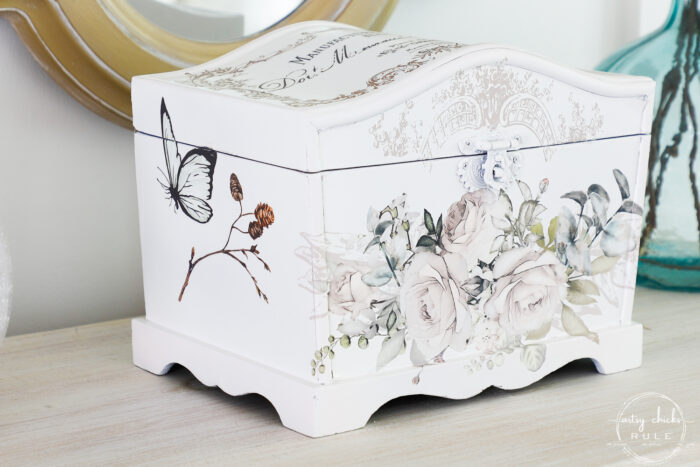 finished white keepsake box with butterfly and branch