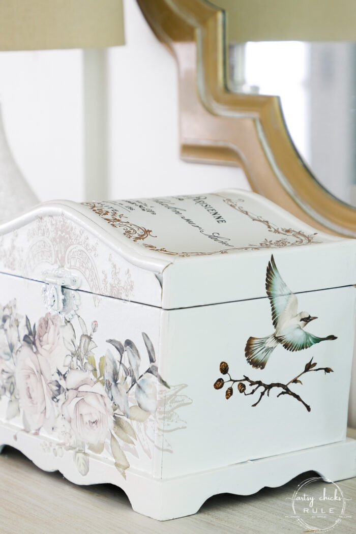 sideview of white treasures box with bird and branch