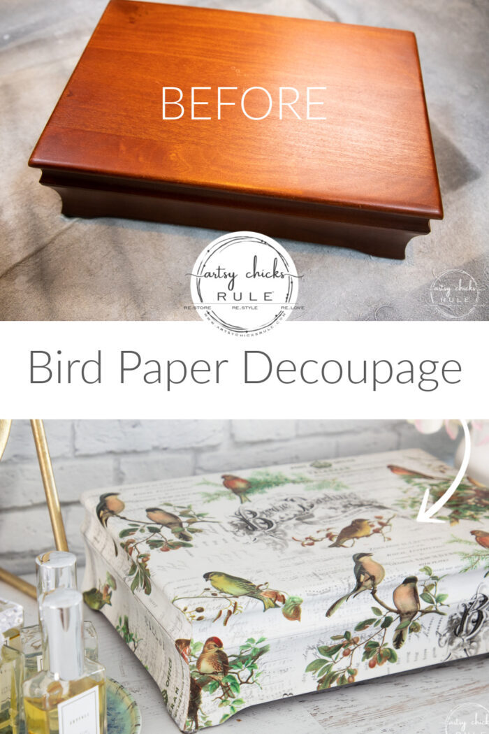 This sweet bird paper decoupage for the bird and nature lover! Easy way to give this jewelry box a new look. artsychicksrule.com