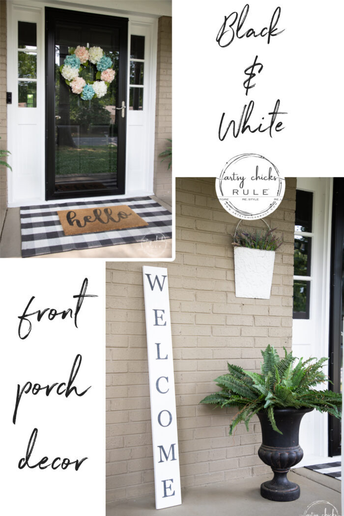Simple and classic black and white porch decor go with every season! Add a splash of color for a change with the seasons! artsychicksrule.com