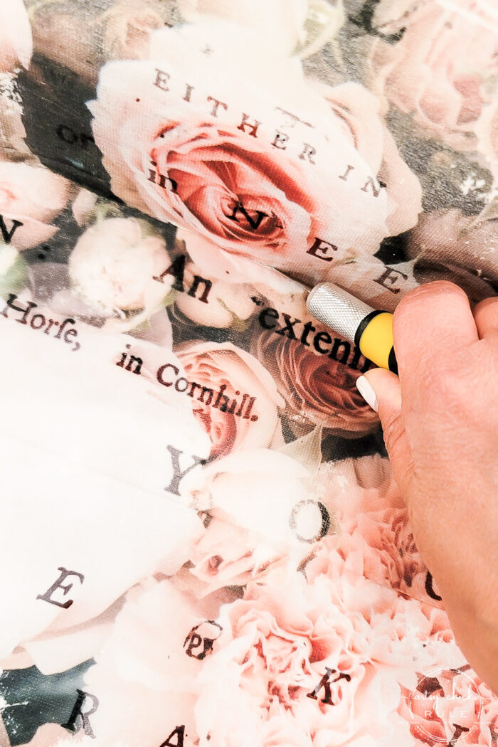 cutting pink rose floral paper