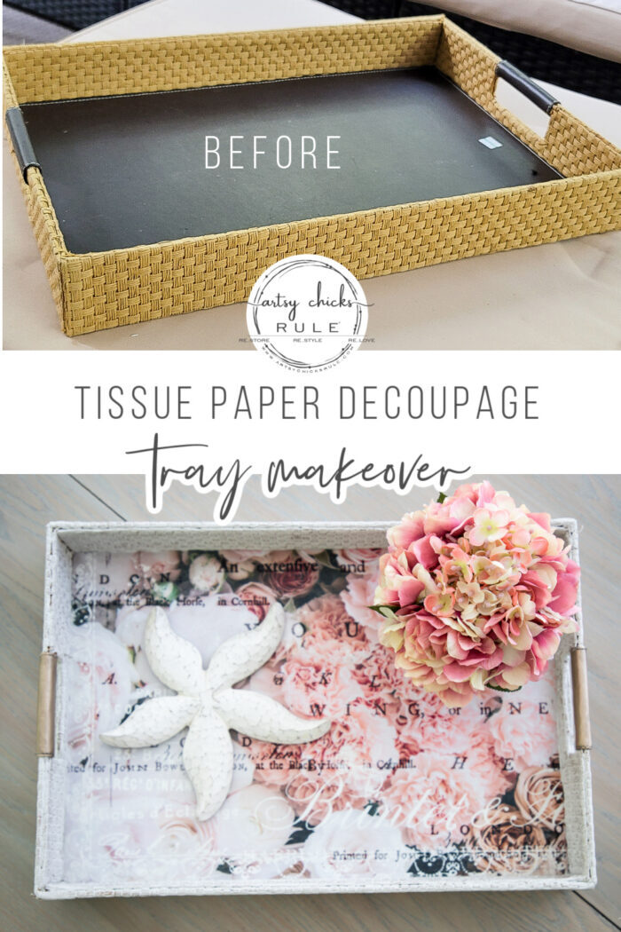 This decoupage tissue paper is the perfect decoupage tool! No wrinkles, just beautiful smooth design...simple! artsychicksrule.com