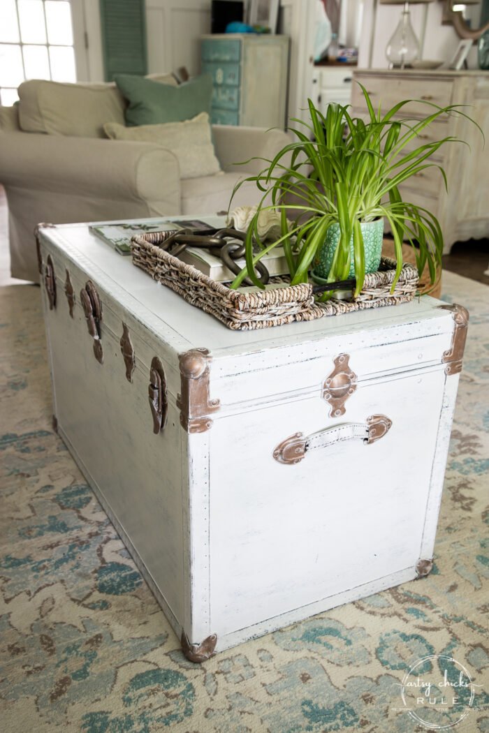 sideview of white trunk styled on top
