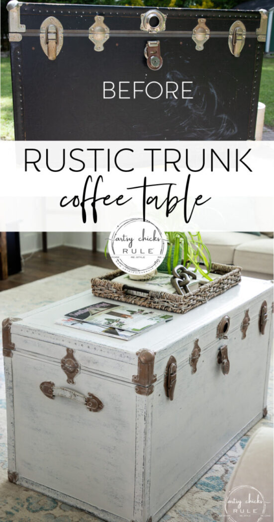 This old thrifted trunk turned rustic trunk coffee table was such a simple makeover! Now ready for new life! artsychicksrule.com
