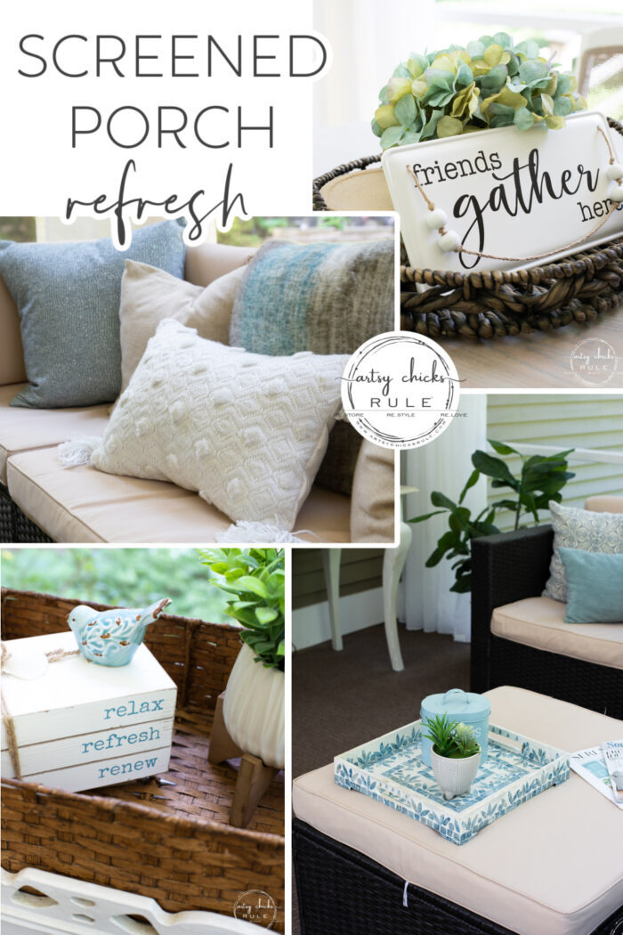 This aqua and brown screened porch refresh is cozy and inviting with pillows, throws, baskets, greenery, and more! artsychicksrule.com