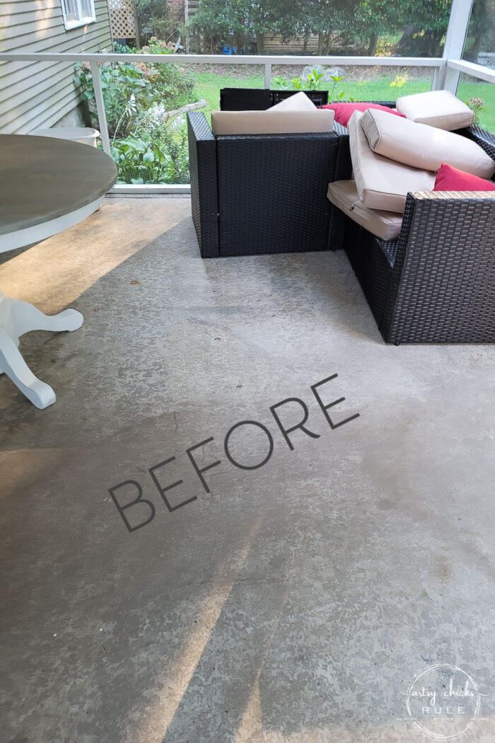 screened porch with cement floor before