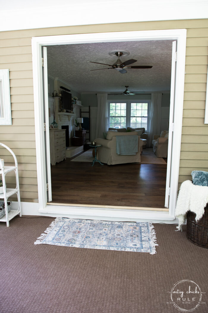 view of french doors open to inside living space