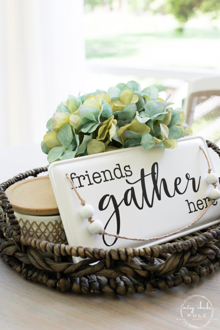 brown basket tray with hydrangea and gather sign
