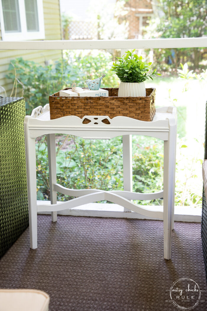 white table with brown basket
