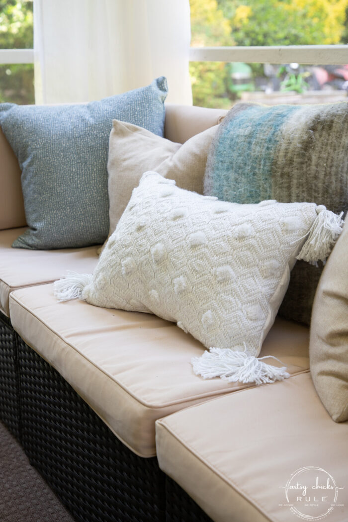 close up of patio couch and pillows