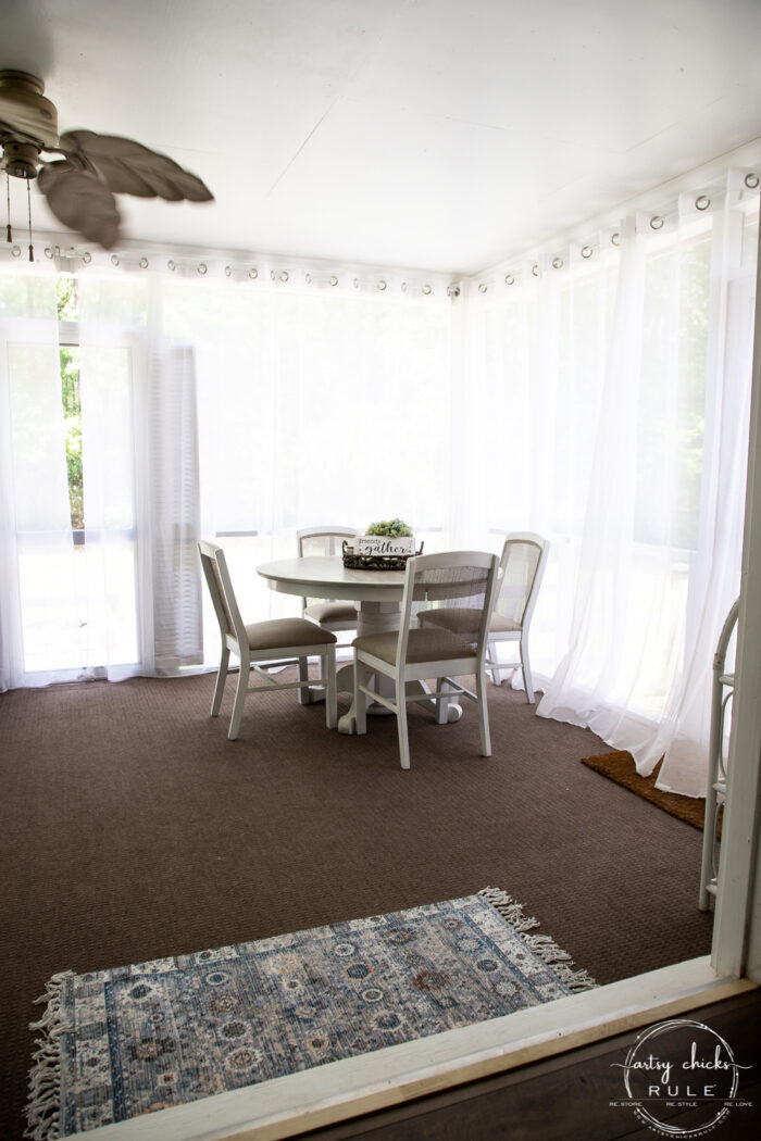 dining table with curtains closed