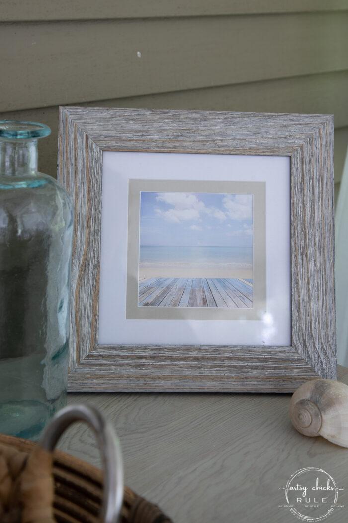 driftwood look frame with ocean scene
