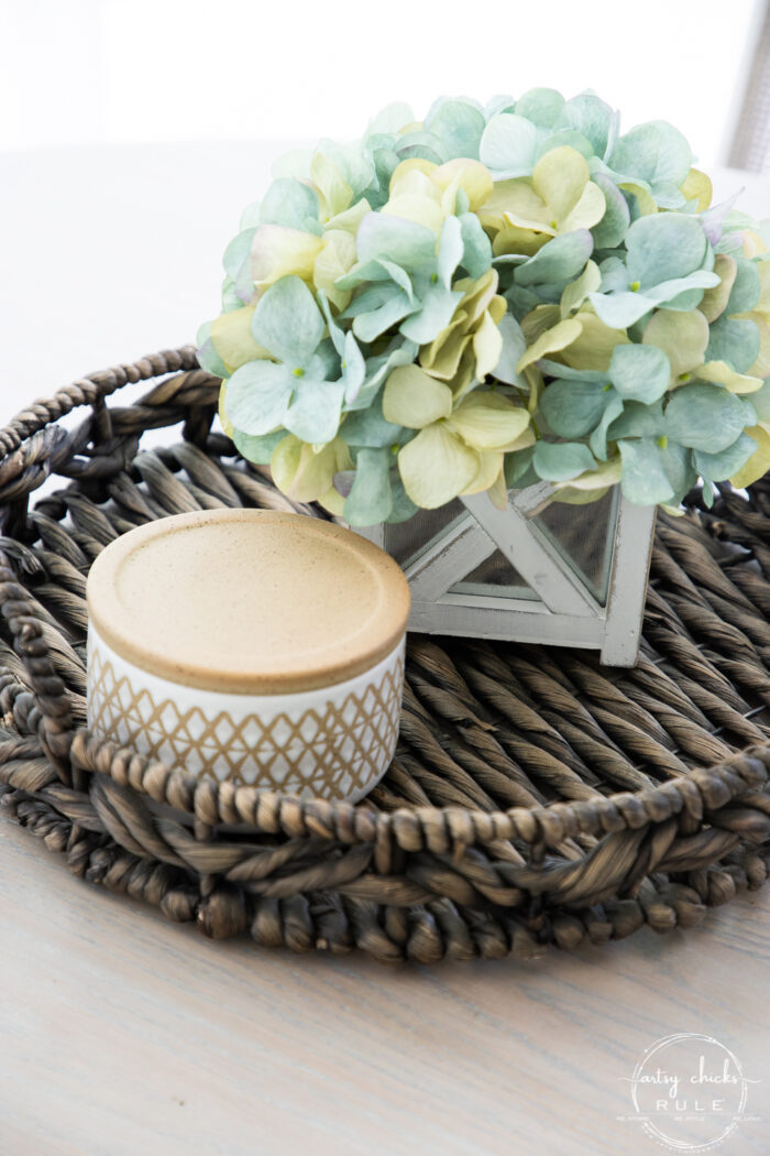 close up of aqua hydrangeas and basket tray