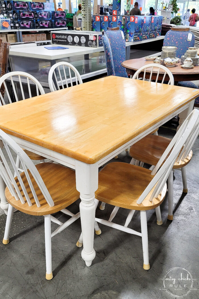 farmhouse style table and chairs orangey wood and white
