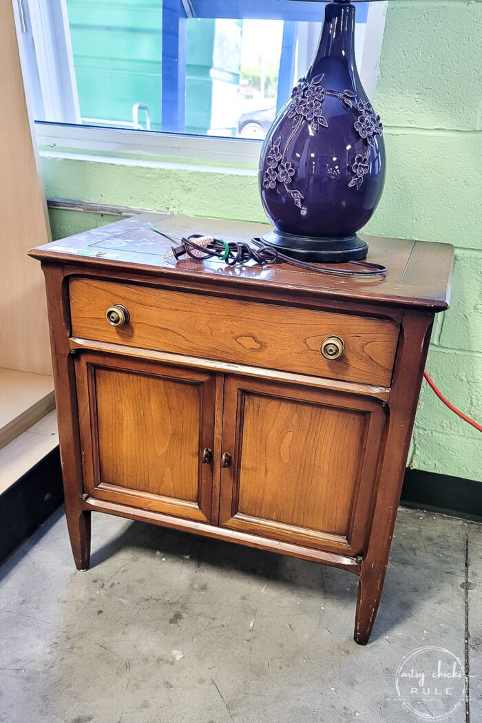 wood nightstand with drawer and 2 doors
