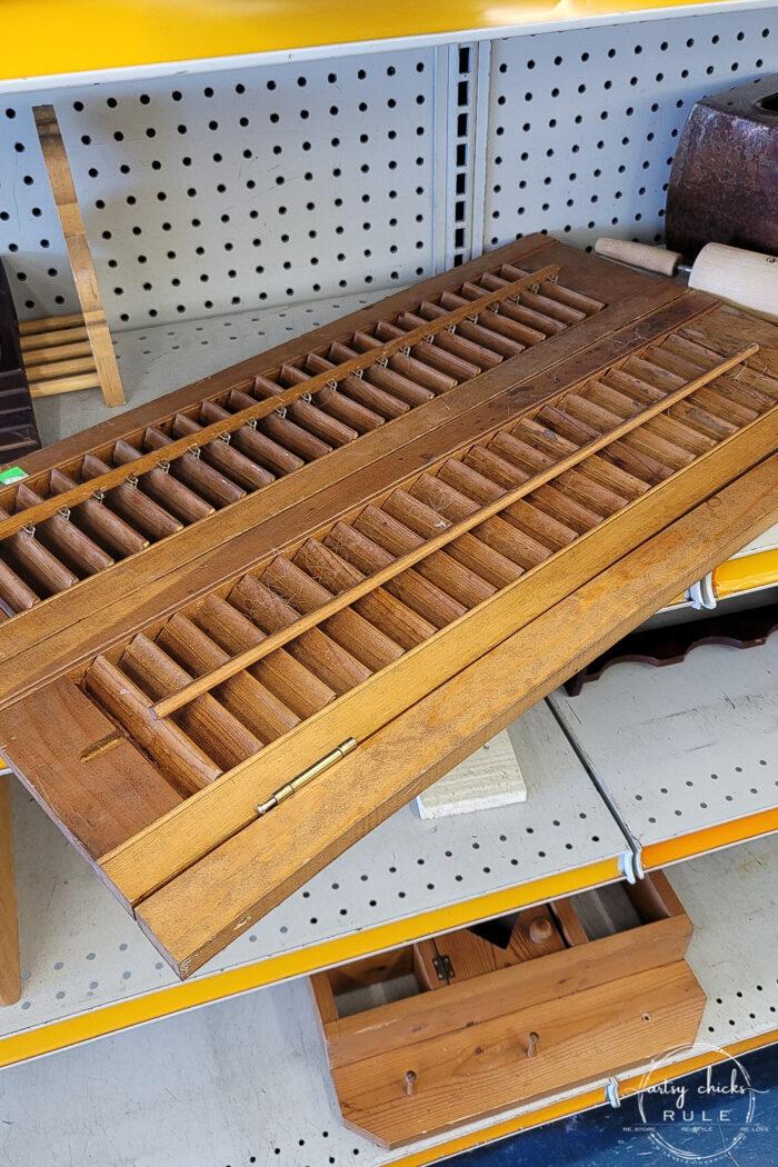 louvered window shade wood