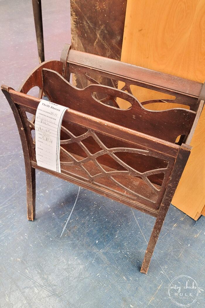 scrolled cut wood magazine rack