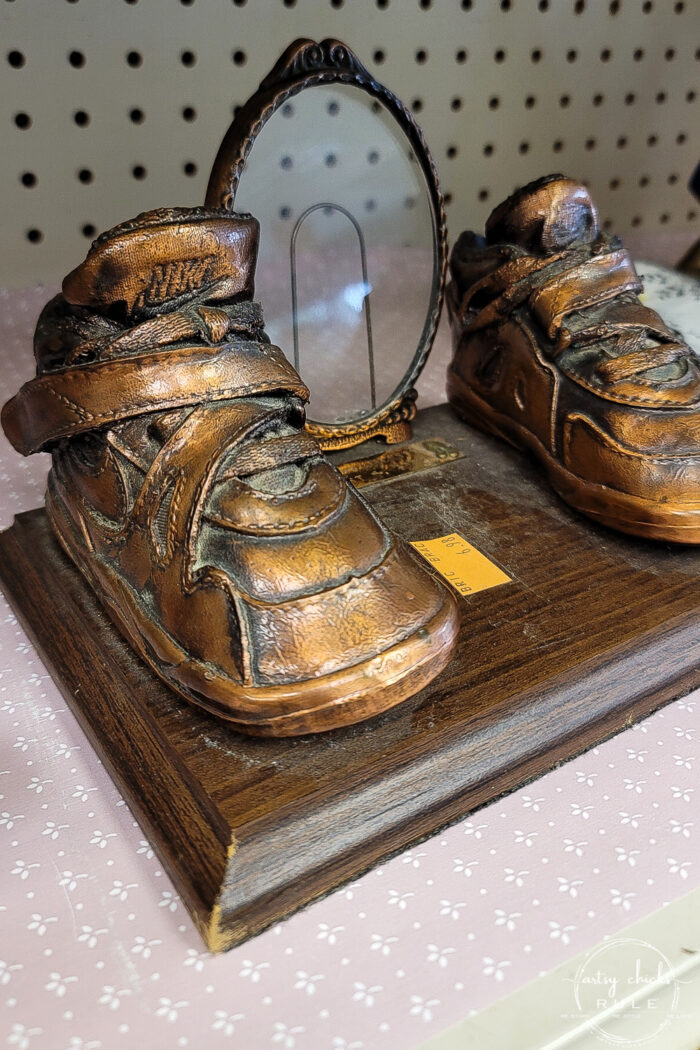 bronze nike baby shoes plaque